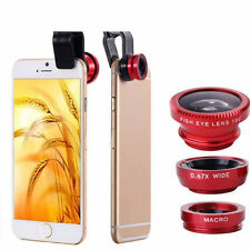 Rosso 3 in 1 HQ mobile camera Clip on FISH EYE LENS KIT grandangolo per iPhone 5 6s
