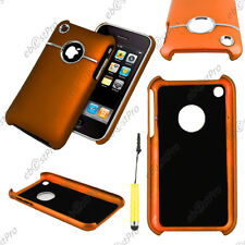 Housse Coque Rigide Silver-Line chromé Orange Apple iPhone 3GS 3G + Mini Stylet