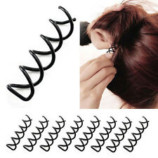 10 Piece Lady Magic Spiral Spin Screw Pin Hair Bun Clip Twist Barrette Black EPS