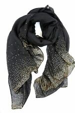B10 Metallic Gold Foil Spec Black Wrap Shawl Scarf Boutique