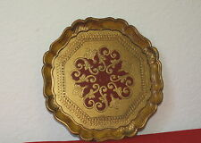 Vintage Italian Florentine Round Gold Gilt And Red Ornate Tray