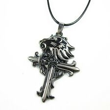 Stainless Steel Lion Head Cross Pendant Leather Chain Necklace Gothic Punk