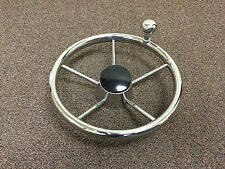 "STAINLESS STEEL 11"" FIVE SPOKE STEERING WHEEL W/ TURNING KNOB FOR BOAT"