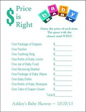24 Personalized PRICE IS RIGHT Baby Shower Game