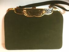 Vintage 1950s Green Suede Handbag, Purse, With Green Leather & Goldtone Accents