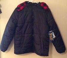 NEW Extreme Youth Boys Kids Black Puffer Hooded Jacket Free Hat S14/16