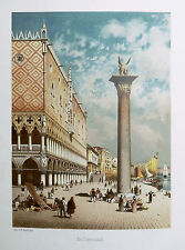 1890 ITALIEN VON WOLDEMAR KADEN=VEDUTA ACQUARELLATA PIAZZA DEI DOGI A VENEZIA VE