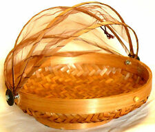 CLOCHE A FROMAGE/FRUITS 35 CM GARDE MANGER BAMBOU CORBEILLE marron