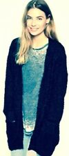 New Brave Soul Super-Soft Fluffy Knit Cardigan With Front Pockets Navy UK 8