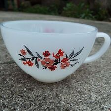 Fire King Anchor Hocking White Milk Glass Coffee Cup Mug w. Floral Pattern