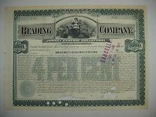 1901 Reading Company Bond Stock Certificate Railroad Jersey Central