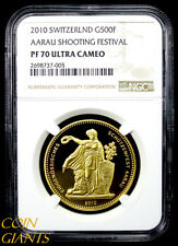 2010 Switzerland 500 Francs Proof NGC PF 70 Ultra Cameo AARAU SHOOTING FESTIVAL