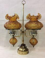 Rare Fenton Double Globe/Shade Amber Poppy Table Lamp