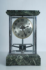 (E) Vintage Antique BULLE French Translucent Mantle Clock Marble Glass Electric