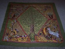GORGEOUS CASHMERE & SILK HERMES SCARF SHAWL AXIS MUNDI IN RARE COLOR WAY