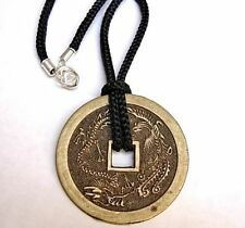 Chinese Coin - Medallion Necklace Phoenix and Dragon Good luck charm 45mm diam