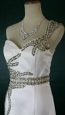 $400 TERANI Couture P722 Prom Formal Evening Gown Ivory Size 10 Long Junior Full