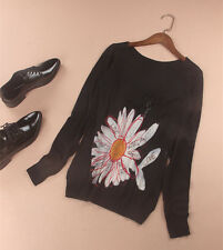 Designer Desigual knit top with daisy detail printed Size S UK 8/10