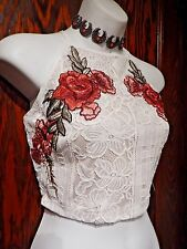 LULU'S white beige red roses embroidered lace cropped tank top shell cami S M 2B