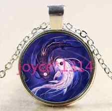Yin Yang Fish Cabochon Tibetan silver Glass Chain Pendant Necklace #XP-2408