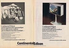 PUBLICITE ADVERTISING 114 1974 CONTINENTAL EDISON télévision (2 pages)