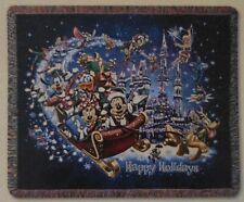 Disney Happy Holidays Tapestry Woven Throw w/characters flying in the sleigh New
