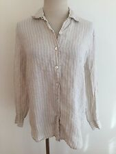 Talbots Irish Linen Button Front Shirt Blouse Beige w/ White Stripes Size 4
