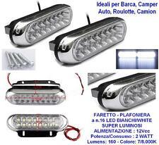 COPPIA PLAFONIERE FARETTI MARINI N.16 LED BIANCHI 2W 12V per BARCA AUTO CAMPER