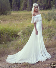 Boho Beach Wedding Dresses Off Shoulder Long Chiffon Lace Bridal Gowns Size 2-22