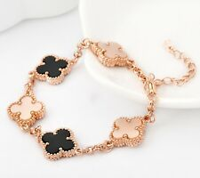 Women's Girl's 18K Rose Gold GF Four Leaf Clover Lucky Pendant Charm Bracelet 8""