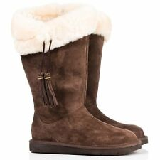 UGG® AUSTRALIA PLUMDALE 1894 CHOCOLATE BROWN ZIP UP TASSEL BOOTS UK 4.5 EUR 37