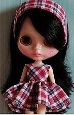 Blythe Doll Outfit Clothing Checks print Dress  + Hair Band