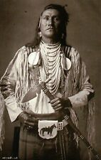 """ Holds The Enemy "" Apsaroke Crow Native American Indian, Tomahawk --- Postcard"