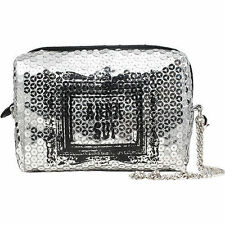 ANNA SUI SILVER PARTY POUCH EVENING CLUTCH BAG WITH LONG CHAIN  **NEW