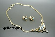 Vintage Mazer aquamarine blue rhinestones drop necklace earrings set