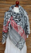 OVERSIZE LADIES/MENS SOFT SQUARES ZIGZAGS PRINT FRAYED SCARF *RED/BLACK/WHITE*