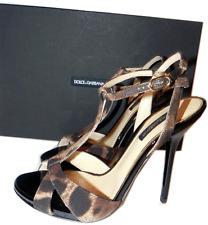 $675 DOLCE & GABBANA Leopard Platform T Strap Sandals Pump Shoe Heel 36-6 D&G