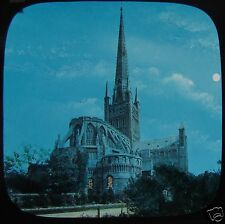 Glass Magic Lantern Slide NORWICH CATHEDRAL AT NIGHT C1890 ENGLAND