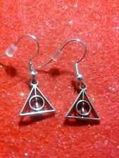 Small Silvertoned Deathly Hallows Symbol Dangle Earrings from Harry Potter