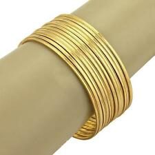 "Estate Solid 22k Gold Set of 12 Bangles 2mm Wide Milgrain Design 7.5"" -128 gr."