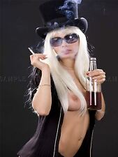 PHOTO COMPOSITION TOPLESS WOMAN SMOKING DRINKING TOP HAT BOTTLE POSTER BMP10344