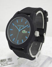Designer Lacoste Mens 12.12 Polo 2010791 Black Silicone Strap Watch NEW RRP179