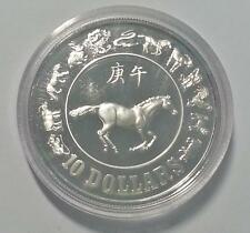 Singapore Zodiac Horse 1990 $10 Silver Proof Coin with Box & Cert (C522)
