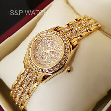 Women's Luxury 14k Gold Finish Iced Out Watch Bracelet Lab Diamond Roman Numeral