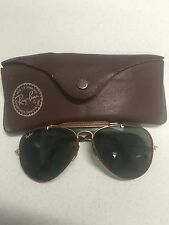VINTAGE - AUTH RAY-BAN BAUSCH&LOMB LEATHER AVIATOR SUNGLASSES W/CASE BLACK/BROWN