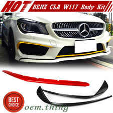 Painted Mercedes BENZ CLA W117 4D Front Flaps Package Spoiler & Front Lip Cover