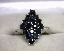 14K White Gold Genuine Sapphire Ring .80 TCW Size 5.5