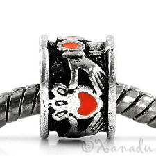 Red Irish Claddagh European Bead For European Charm Bracelets And Necklaces