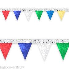 20m Olografico Multicolore Frangia Pennant Banner Festa Bandierine - 6 Lunghezze