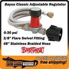 "Bayou M5HPR-30 0-30 PSI Adjustable LP Gas Propane Regulator w/ 48"" Braided Hose"